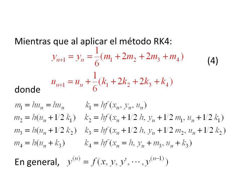 Mientras que al aplicar el método RK4: (4) donde