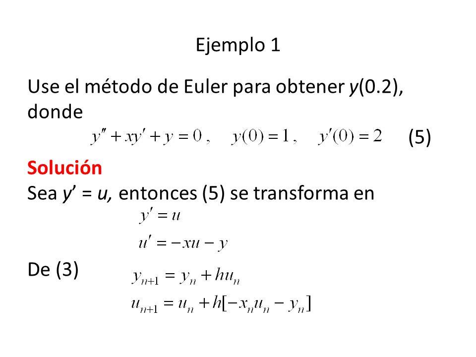 Ejemplo 1 Use el método de Euler para obtener y(0.2), donde (5) Solución Sea y' = u, entonces (5) se transforma en De (3)