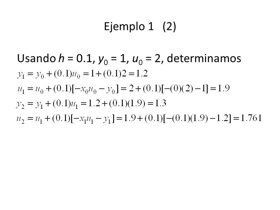 Ejemplo 1 (2) Usando h = 0.1, y0 = 1, u0 = 2, determinamos