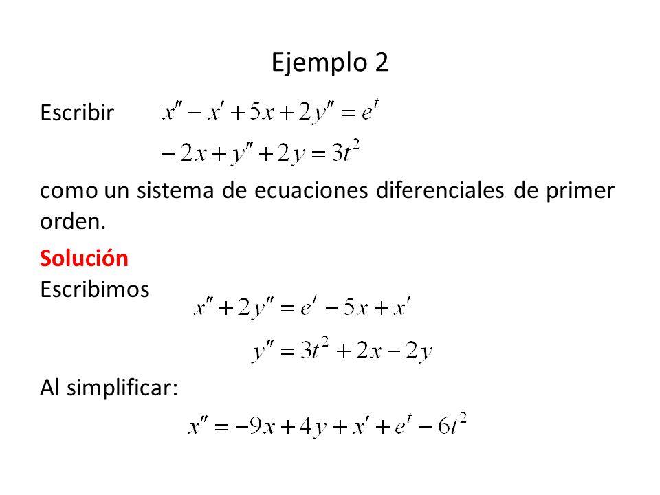Ejemplo 2 Escribir. como un sistema de ecuaciones diferenciales de primer orden. Solución Escribimos.