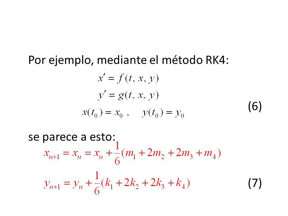 Por ejemplo, mediante el método RK4: (6) se parece a esto: (7)