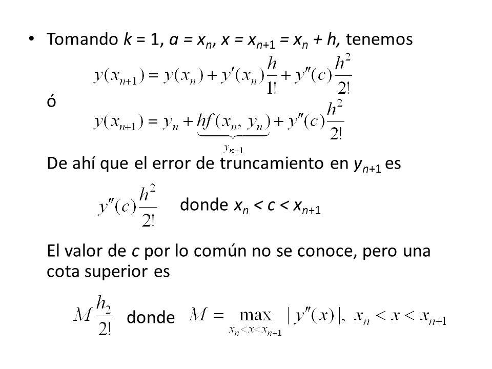 Tomando k = 1, a = xn, x = xn+1 = xn + h, tenemos. ó