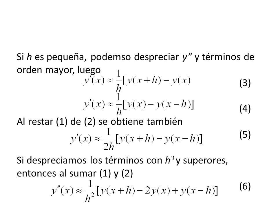 Si h es pequeña, podemso despreciar y y términos de orden mayor, luego (3) (4) Al restar (1) de (2) se obtiene también (5) Si despreciamos los términos con h3 y superores, entonces al sumar (1) y (2) (6)
