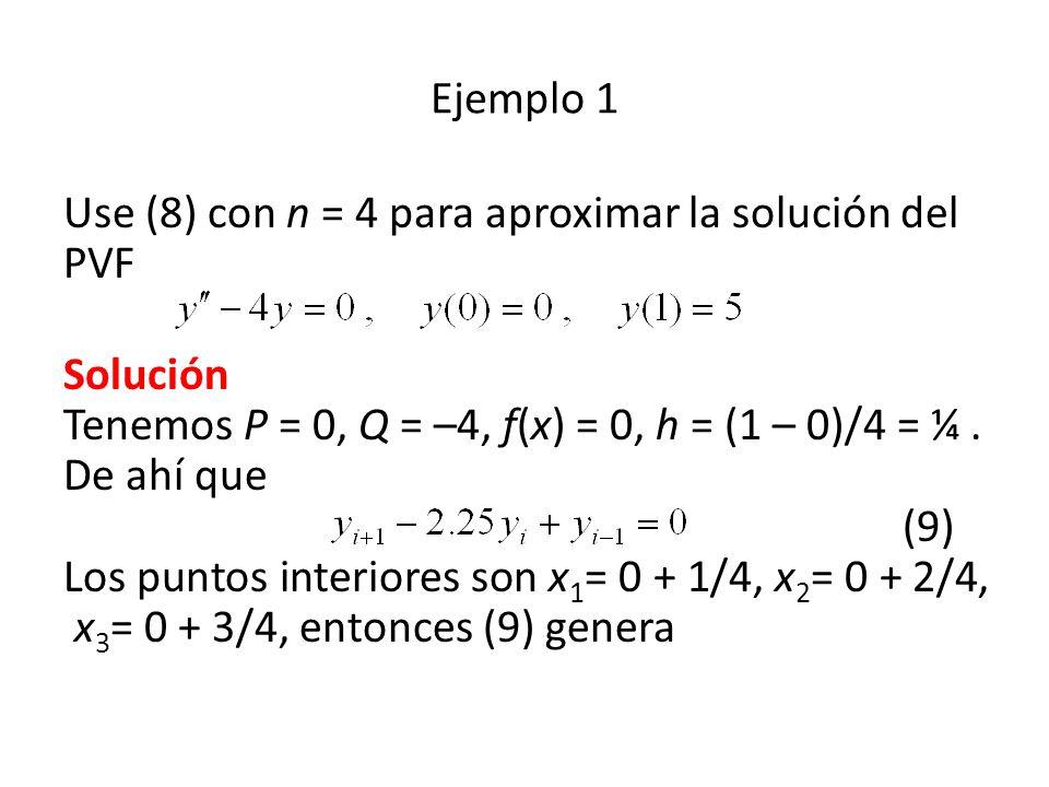 Ejemplo 1 Use (8) con n = 4 para aproximar la solución del PVF.