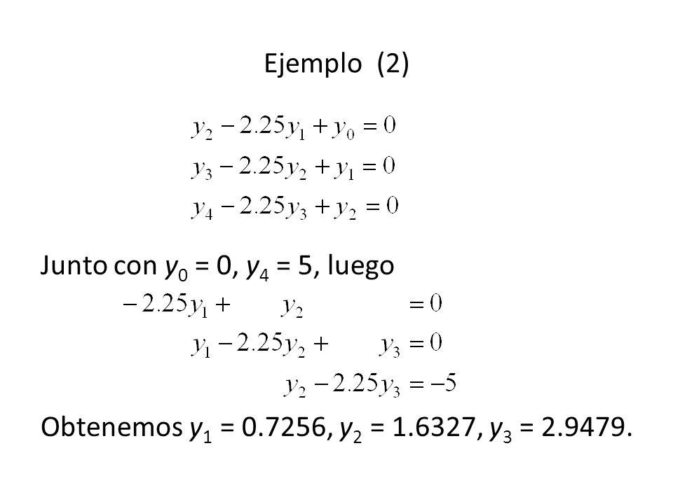 Ejemplo (2) Junto con y0 = 0, y4 = 5, luego Obtenemos y1 = 0.7256, y2 = 1.6327, y3 = 2.9479.