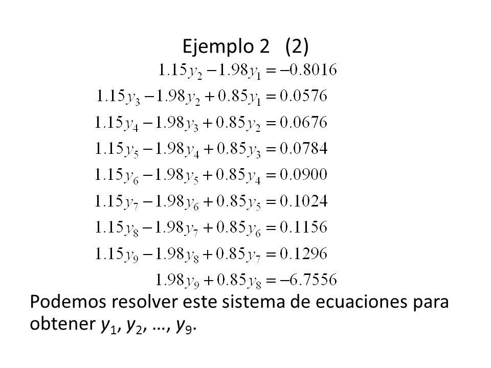 Ejemplo 2 (2) Podemos resolver este sistema de ecuaciones para obtener y1, y2, …, y9.