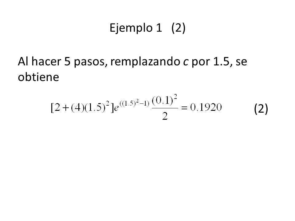 Ejemplo 1 (2) Al hacer 5 pasos, remplazando c por 1.5, se obtiene (2)