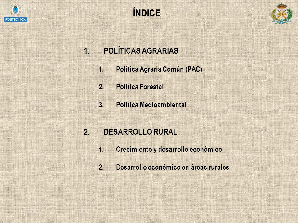 ÍNDICE POLÍTICAS AGRARIAS DESARROLLO RURAL