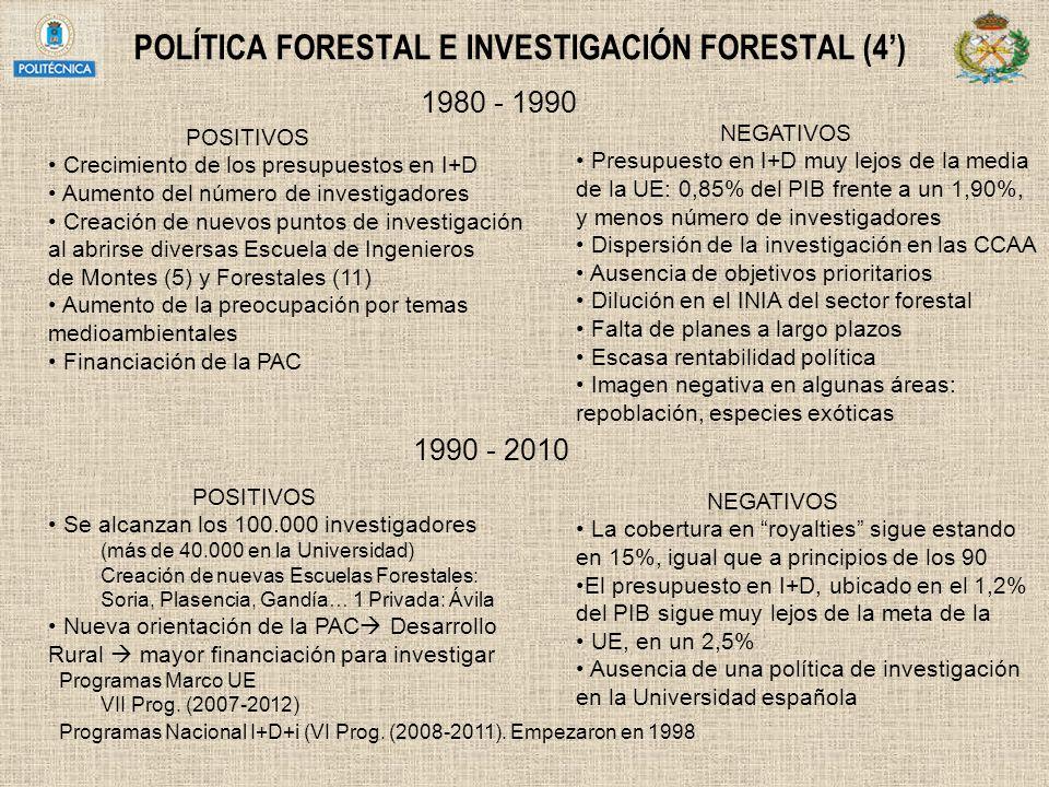 POLÍTICA FORESTAL E INVESTIGACIÓN FORESTAL (4')