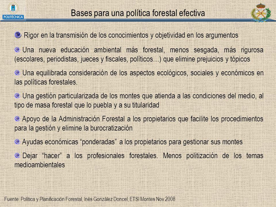 Bases para una política forestal efectiva
