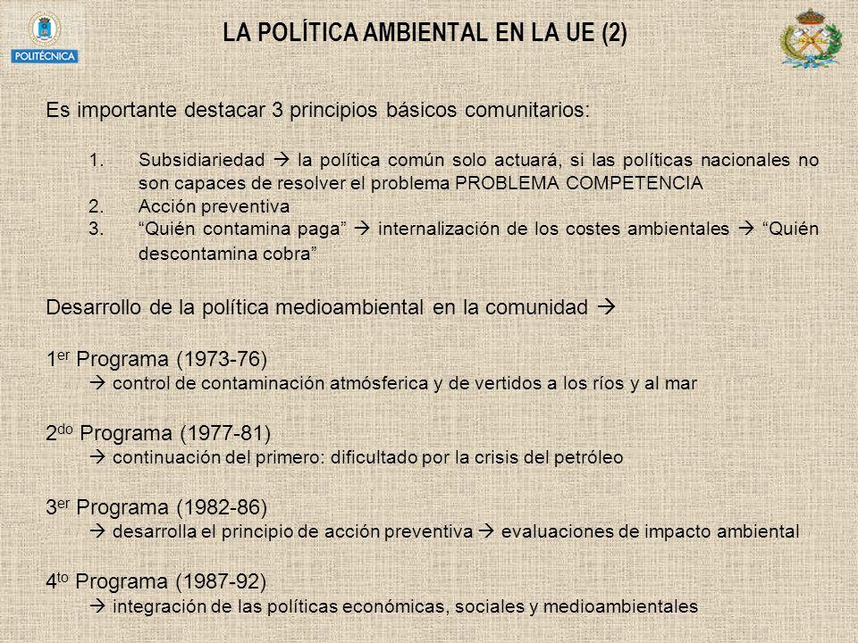 LA POLÍTICA AMBIENTAL EN LA UE (2)