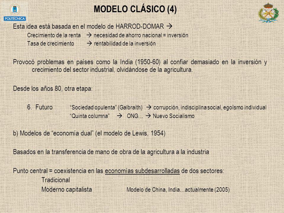 MODELO CLÁSICO (4) Esta idea está basada en el modelo de HARROD-DOMAR  Crecimiento de la renta  necesidad de ahorro nacional = inversión.