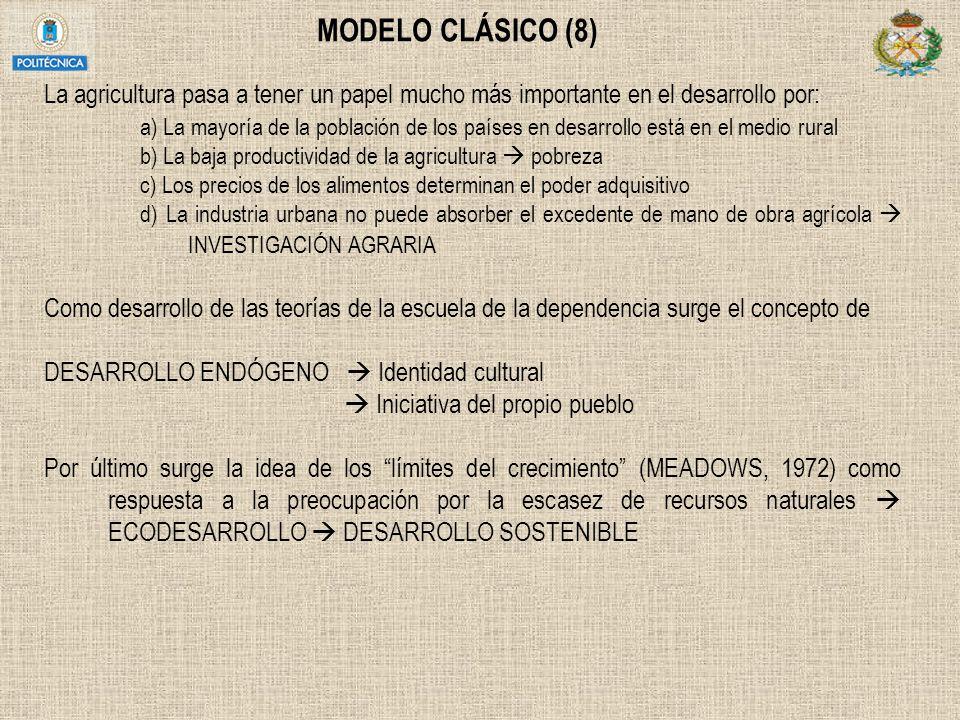 MODELO CLÁSICO (8) La agricultura pasa a tener un papel mucho más importante en el desarrollo por: