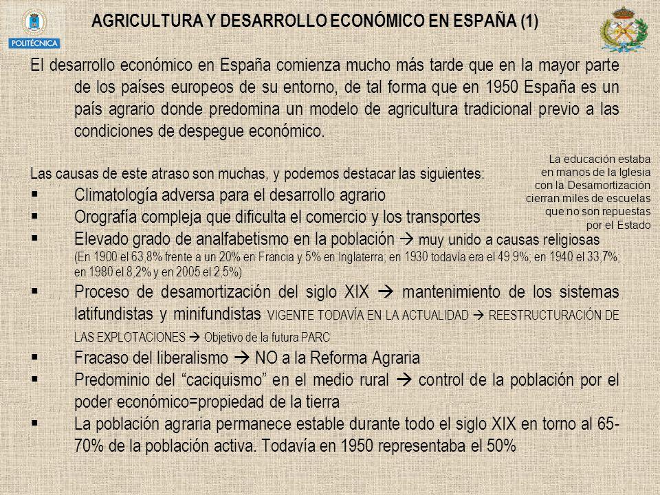 AGRICULTURA Y DESARROLLO ECONÓMICO EN ESPAÑA (1)