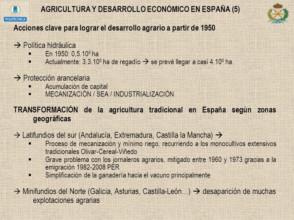 AGRICULTURA Y DESARROLLO ECONÓMICO EN ESPAÑA (5)