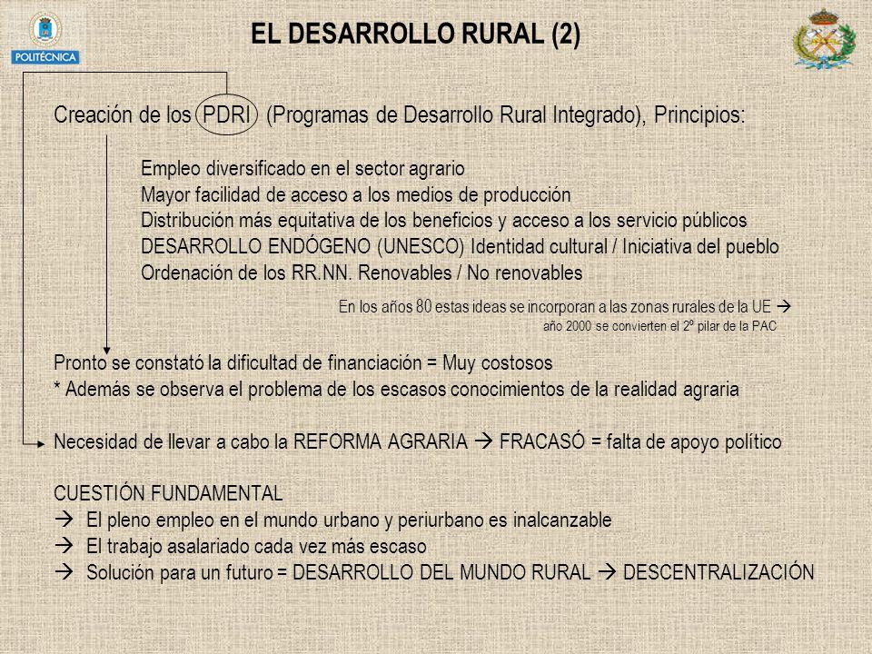 EL DESARROLLO RURAL (2) Creación de los PDRI (Programas de Desarrollo Rural Integrado), Principios: