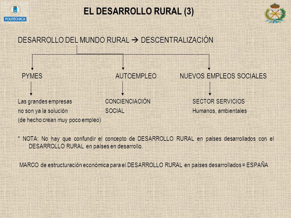 EL DESARROLLO RURAL (3) DESARROLLO DEL MUNDO RURAL  DESCENTRALIZACIÓN