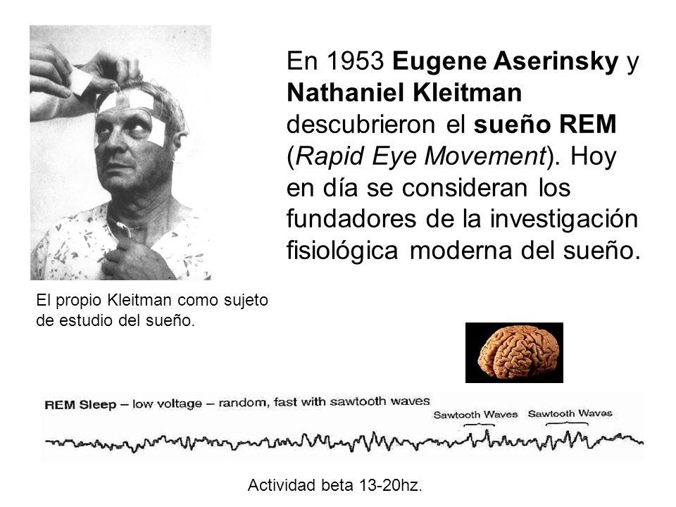 En 1953 Eugene Aserinsky y Nathaniel Kleitman descubrieron el sueño REM (Rapid Eye Movement). Hoy en día se consideran los fundadores de la investigación fisiológica moderna del sueño.