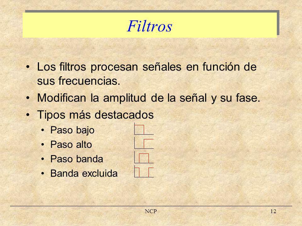 Filtros Los filtros procesan señales en función de sus frecuencias.