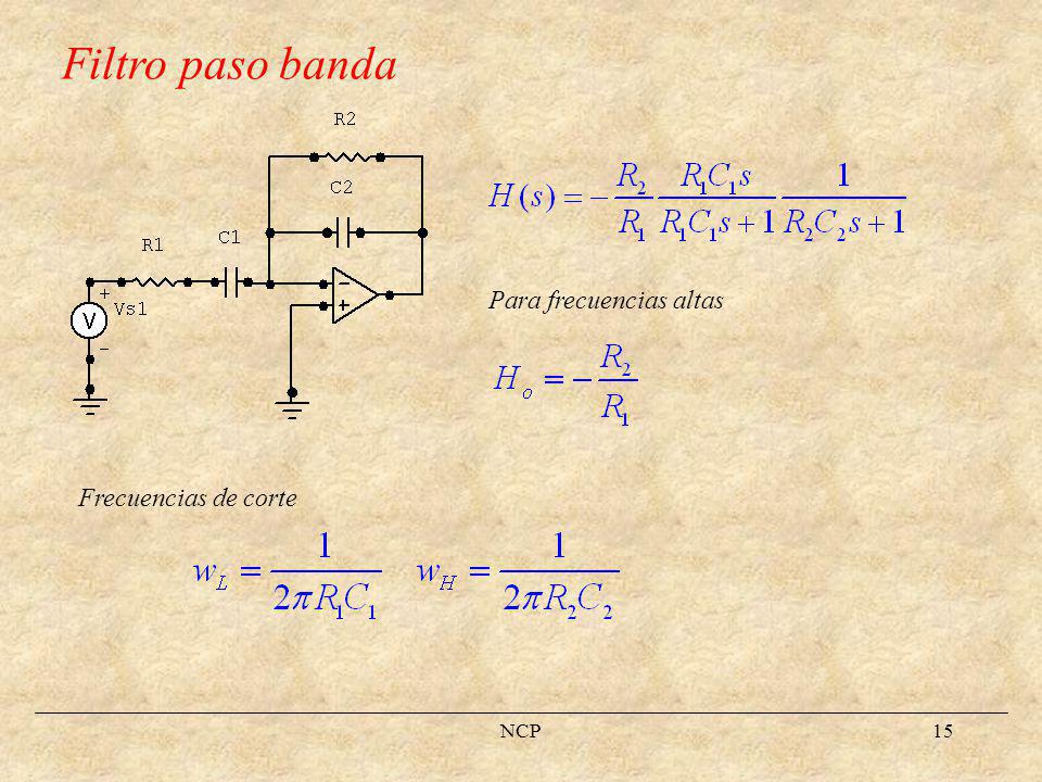 Filtro paso banda Para frecuencias altas Frecuencias de corte NCP