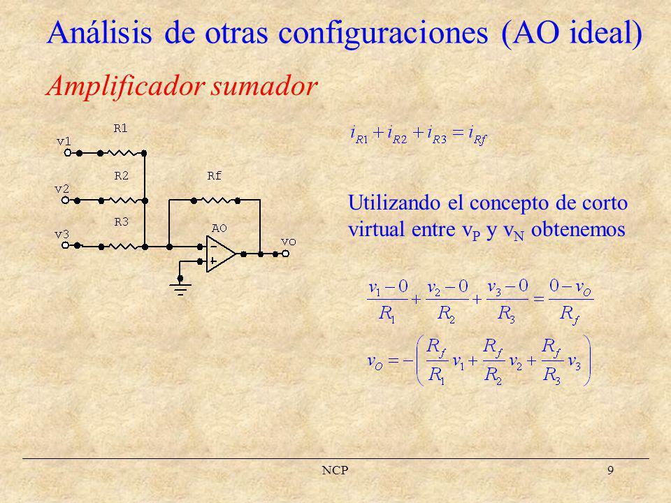 Análisis de otras configuraciones (AO ideal)