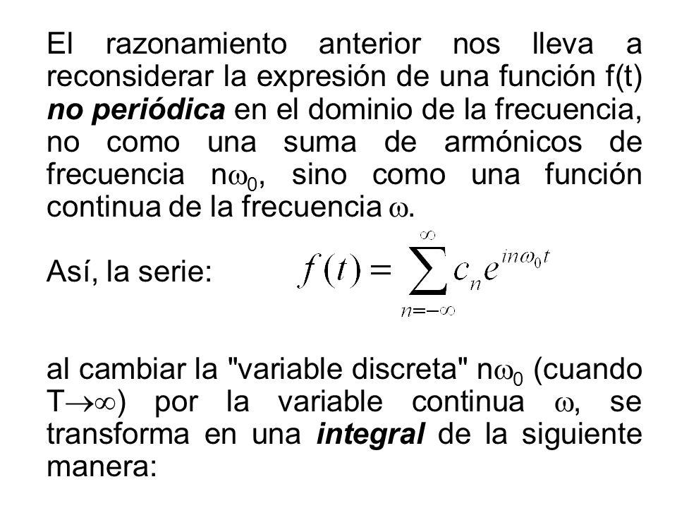 El razonamiento anterior nos lleva a reconsiderar la expresión de una función f(t) no periódica en el dominio de la frecuencia, no como una suma de armónicos de frecuencia nw0, sino como una función continua de la frecuencia w.
