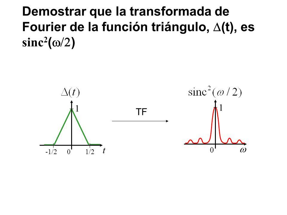Demostrar que la transformada de Fourier de la función triángulo, D(t), es sinc2(w/2)