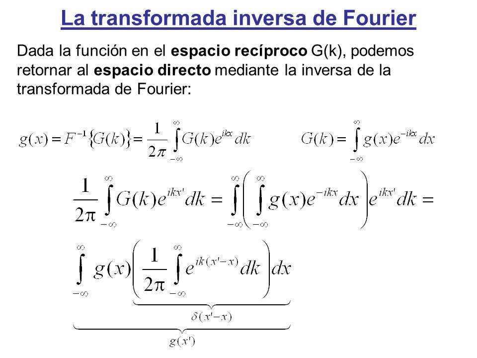 La transformada inversa de Fourier