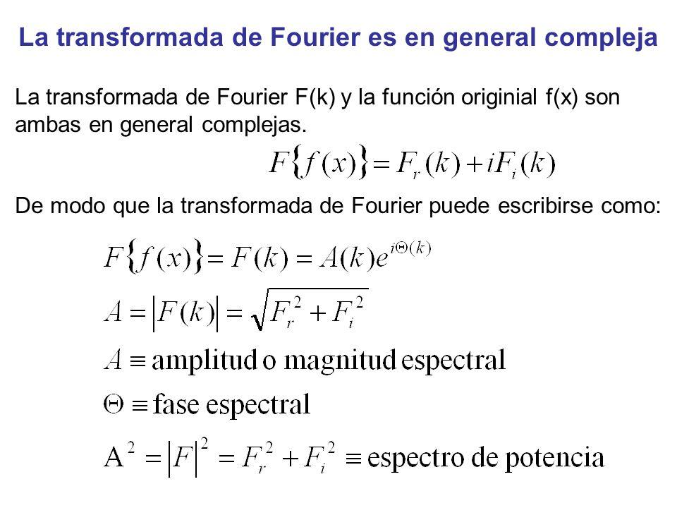 La transformada de Fourier es en general compleja