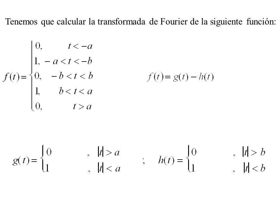 Tenemos que calcular la transformada de Fourier de la siguiente función: