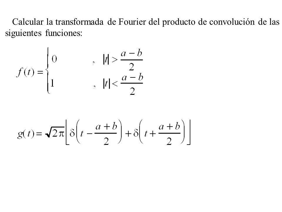 Calcular la transformada de Fourier del producto de convolución de las