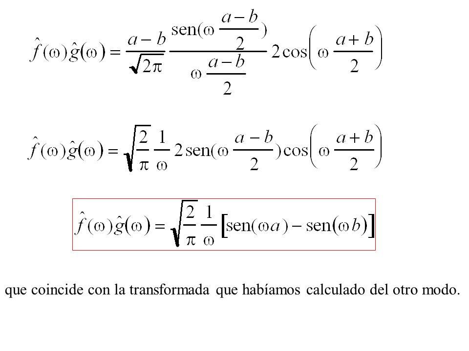 que coincide con la transformada que habíamos calculado del otro modo.