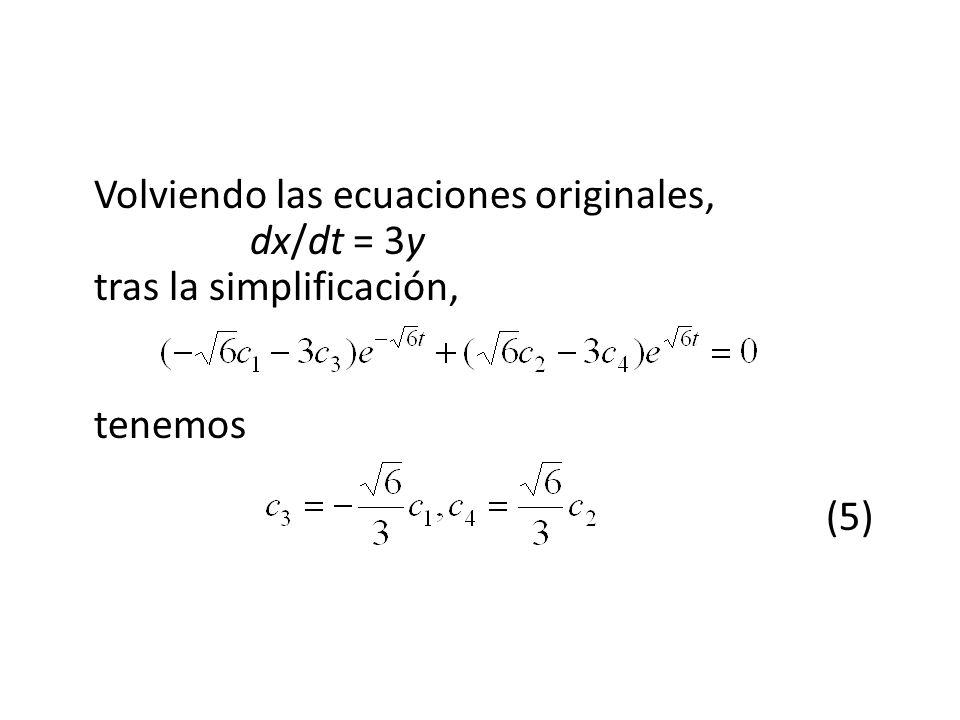 Volviendo las ecuaciones originales,