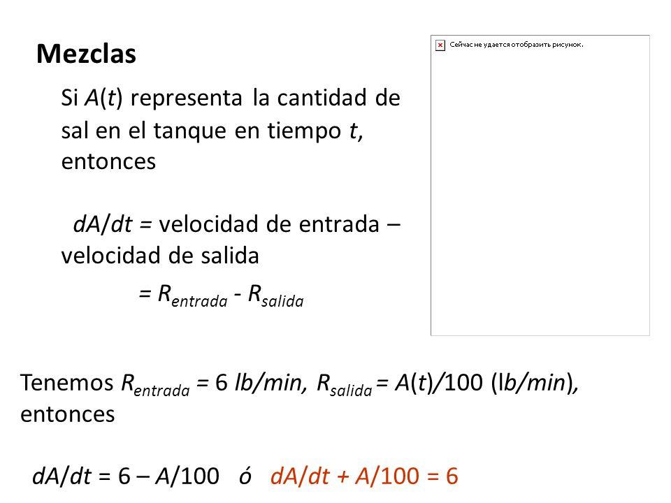 Mezclas Si A(t) representa la cantidad de sal en el tanque en tiempo t, entonces dA/dt = velocidad de entrada – velocidad de salida.