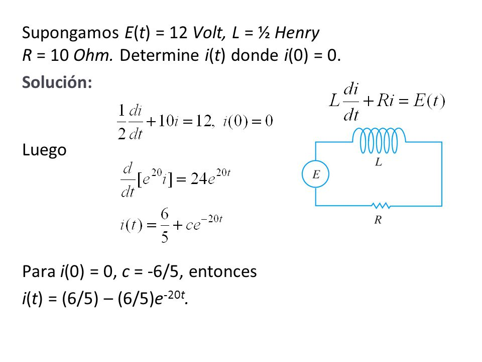 Supongamos E(t) = 12 Volt, L = ½ Henry R = 10 Ohm