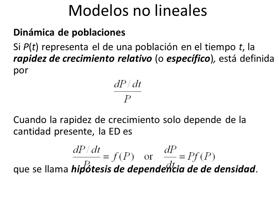 Modelos no lineales Dinámica de poblaciones