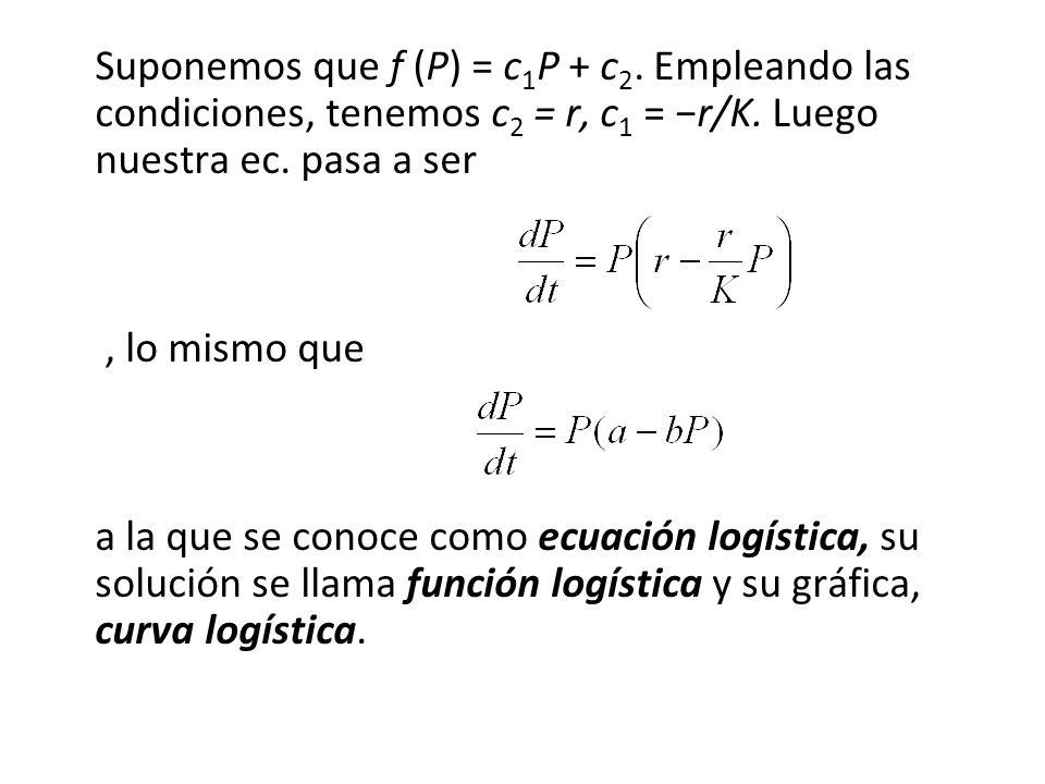 Suponemos que f (P) = c1P + c2
