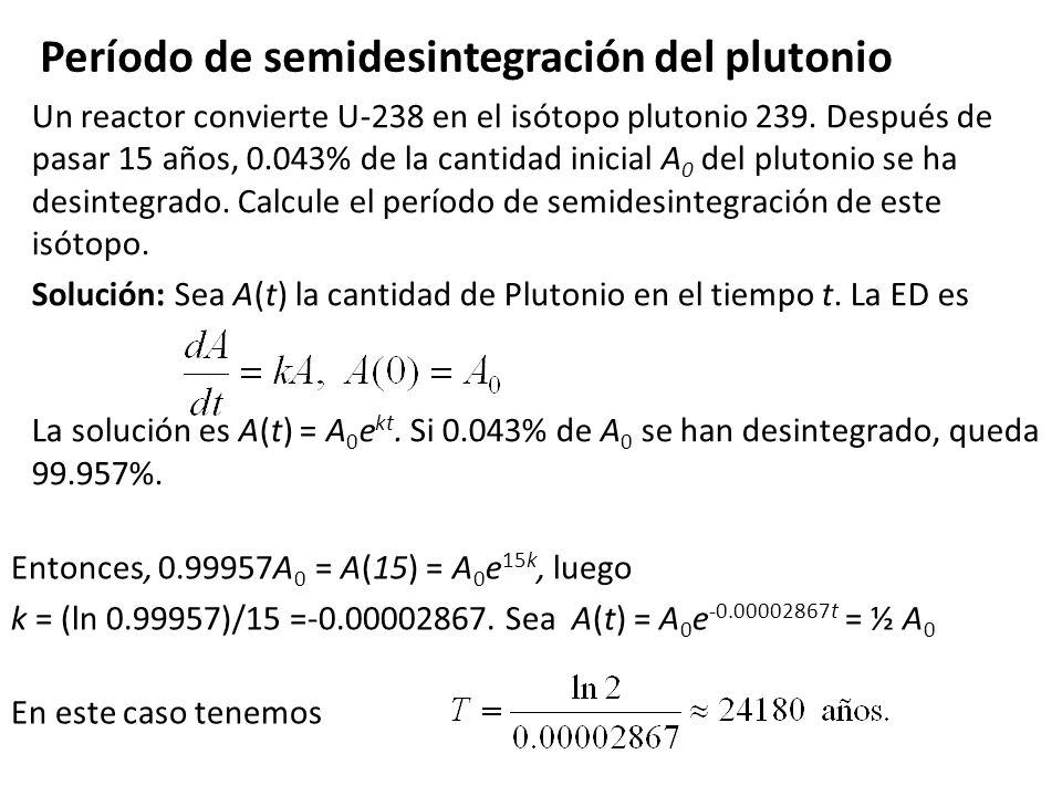 Período de semidesintegración del plutonio
