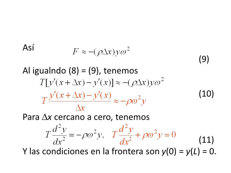 Así. (9) Al igualndo (8) = (9), tenemos