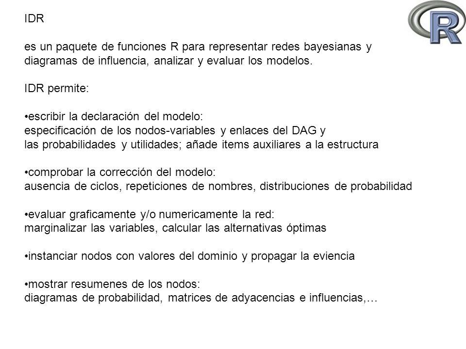 IDR es un paquete de funciones R para representar redes bayesianas y. diagramas de influencia, analizar y evaluar los modelos.