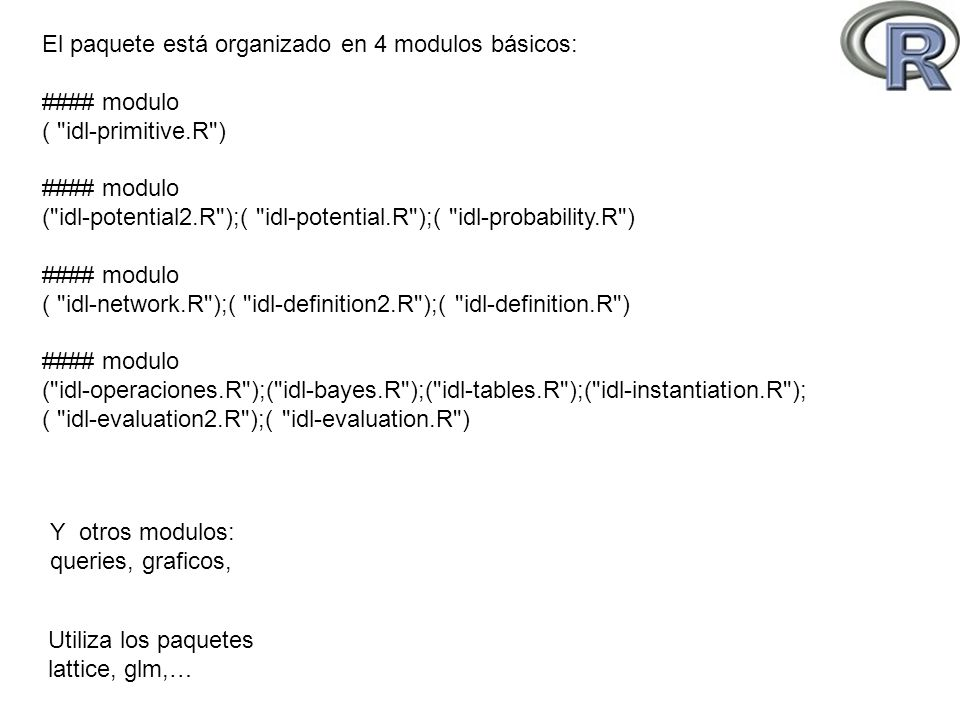 El paquete está organizado en 4 modulos básicos: