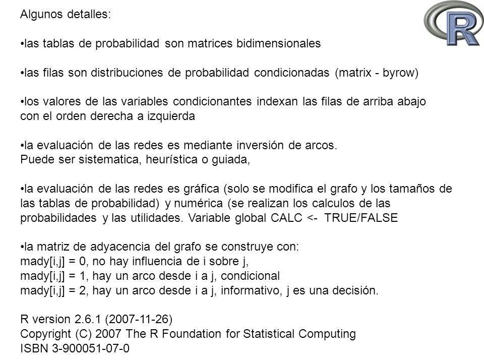 Algunos detalles: las tablas de probabilidad son matrices bidimensionales.
