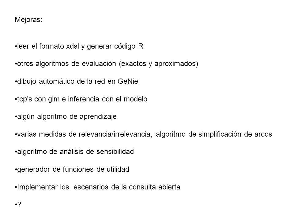 Mejoras: leer el formato xdsl y generar código R. otros algoritmos de evaluación (exactos y aproximados)