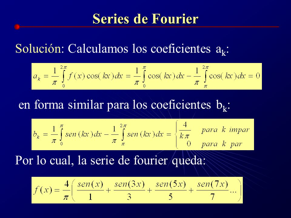 Series de Fourier Solución: Calculamos los coeficientes ak: