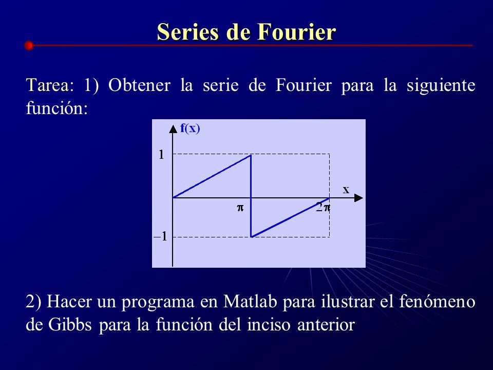 Series de Fourier Tarea: 1) Obtener la serie de Fourier para la siguiente función: