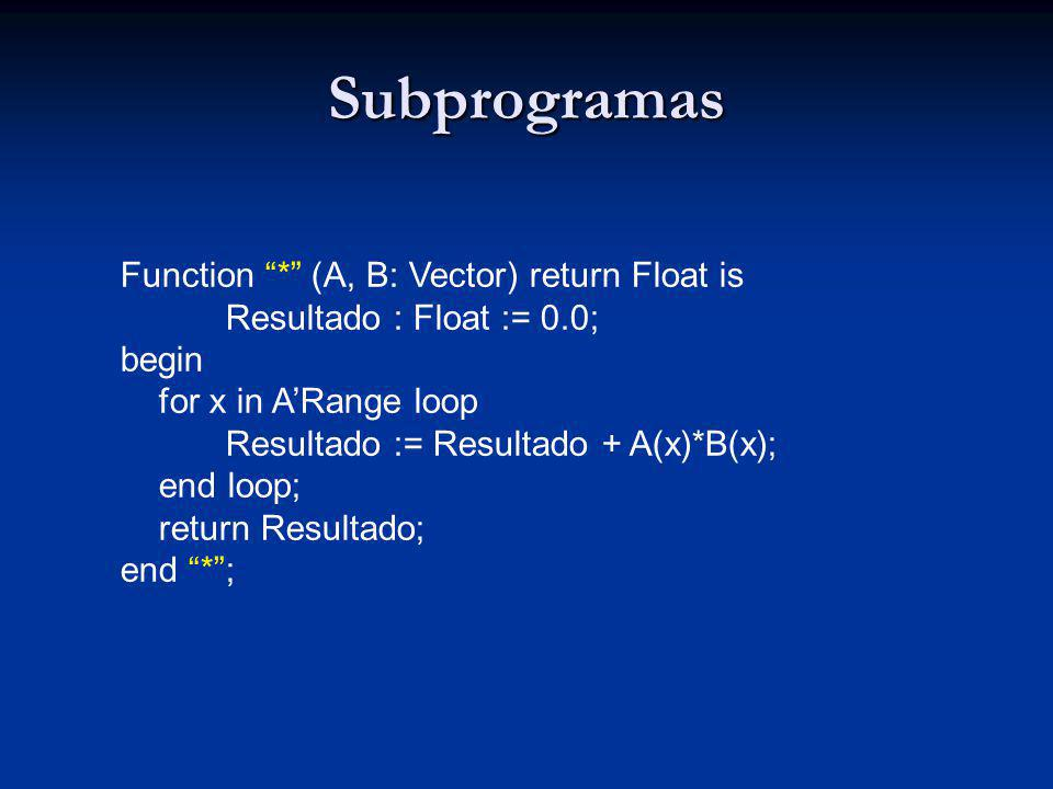Subprogramas Function * (A, B: Vector) return Float is