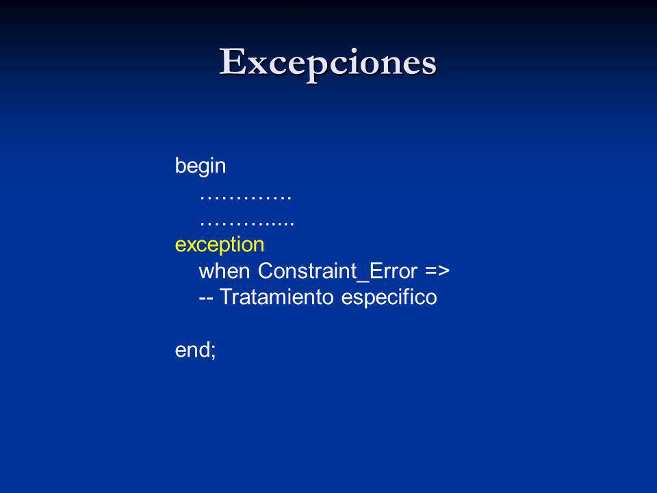 Excepciones begin …………. ………..... exception when Constraint_Error =>