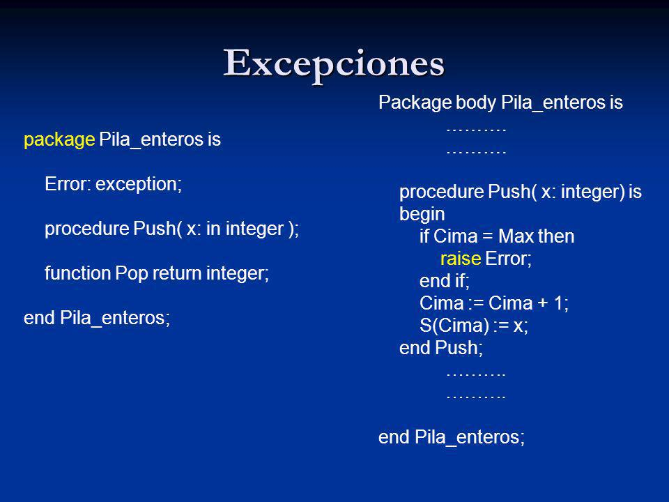 Excepciones Package body Pila_enteros is ………. package Pila_enteros is