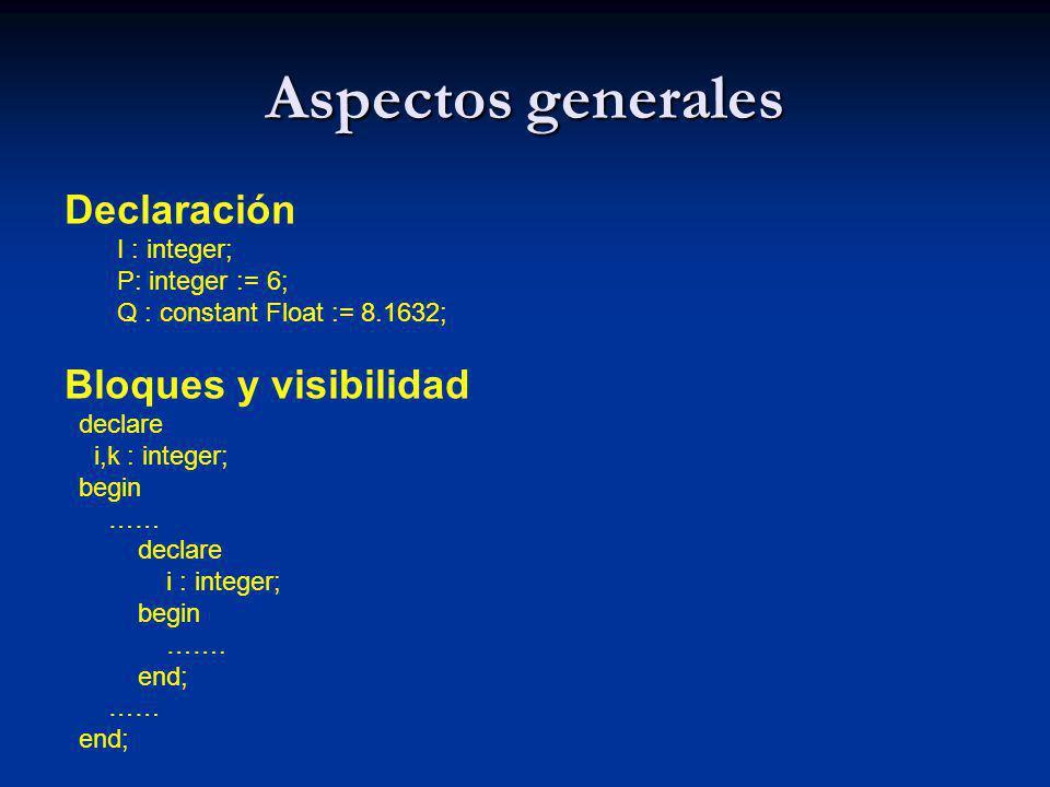 Aspectos generales Declaración Bloques y visibilidad I : integer;