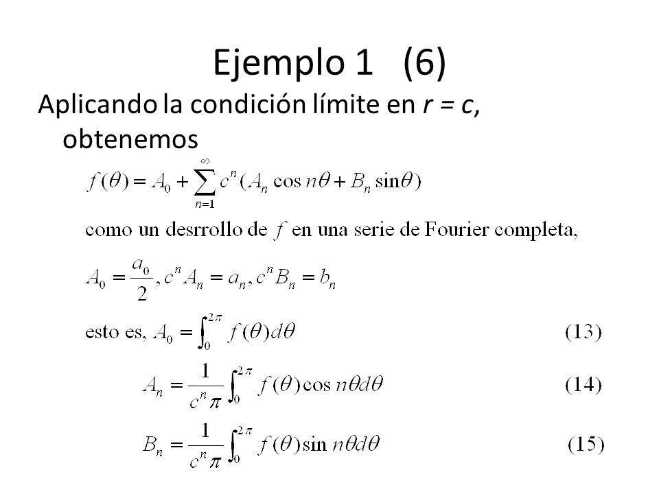 Ejemplo 1 (6) Aplicando la condición límite en r = c, obtenemos